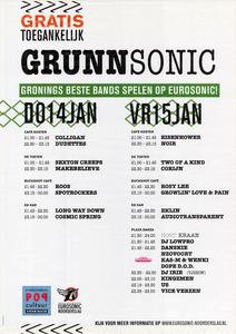 affiche Grunnsonic 2010 <br/>Studio Frank & Lisa <br/>Productiehuis Popcultuur Groningen, Eurosonic Noorderslag <br/>14-15 januari 2010 <br/>concertaffiche