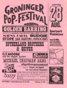 Poster van het Groninger Pop-Festival (28 augustus 1976) met o.a. Swizzle, Pearl Ash en Boozy.