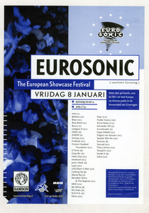 affiche Eurosonic 1999 <br/>Elzo Smid <br/>Stichting Noorderslag <br/>8 januari 1999 <br/>concertaffiche <br/>De Oosterpoort <br/>eerste editie van het festival onder de naam <br/>Eurosonic