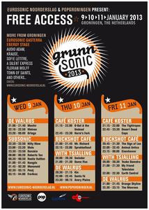 affiche Grunnsonic 2013 <br/>POPgroningen, Eurosonic Noorderslag <br/>9-11 januari 2013 <br/>concertaffiche <br/>Grunnsonic duurt voor het eerst 3 dagen