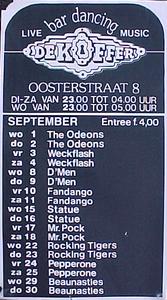 De Koffer, Groningen. Affiche september 1982.<br/> <br/>Entree f. 4,00<br/> <br/>DI-ZA 23.00 TOT 04.00 UUR <br/>WO 23.00 TOT 05.00 UUR<br/> <br/>wo 1 en do 2 The Odeons <br/>vr 3 en za 4 Weckflash <br/> wo 8 en do 9 D'Men <br/>vr 10 en za 11 Fandango <br/>wo 15 en do 16 Statue <br/>vr 17 en za 18 Mr. Pock <br/>wo 22 en do 23 Rocking Tigers <br/>vr 24 en za 25 Pepperone <br/> wo 29 en do 30 Beaunasties