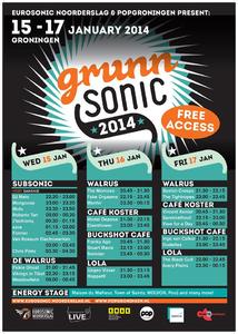 affiche Grunnsonic 2014 <br/>15-17 januari 2014 <br/>concertaffiche