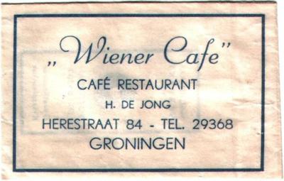 """""""Wiener Cafe"""", Café restaurant, H. de Jong, Herestraat 84 - Tel. 29368, Groningen<br/> <br/>Bron: Jan Colly"""