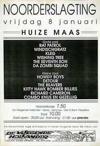 flyer van festival Noorderslagting 1993 <br/>Noorderslagting <br/>8 januari 1993 <br/>flyer <br/>Eddy Koekkoek <br/>van deze eerste editie van Noorderslagting is <br/>deze flyer het enige exemplaar in ons archief. <br/>Het affiche zelf ontbreekt helaas.
