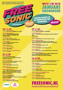 affiche FreeSonic Festival <br/>Gabor Lodi <br/>FreeSonic <br/>15-18- januari 2014 <br/>concertaffiche <br/>affiche van de eerste editie van FreeSonic
