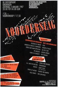 Noorderslag 1987 <br/>Benne Holwerda <br/>Stichting Pop Groningen, Cultuurcentrum De Oosterpoort <br/>3 januari 1987 <br/>concertaffiche <br/>De Oosterpoort <br/>Eerste affiche van Noorderslag onder deze naam