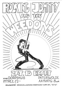 "Affiche tekst: Rocking Johnny and the Weedons, 18 maart, Dorpshuis Paterswolde, Intree f, 2,-, Aanvang 8 uur, Organisatie: Gezelligheidsvereniging Turn On ""G.T.O.""<br/> <br/>"