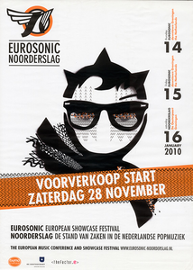 affiche Eurosonic Noorderslag 2010 <br/>Stichting Noorderslag <br/>14-16 januari 2010 <br/>concertaffiche <br/>Eurosonic Noorderslag