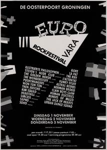 Beschrijving: Affiche Eurorock 1988 Ontwerp: Elzo Smid Gelegenheid: Eurorock Festival Datum: 1-3 november 1988 Bijzonderheden: onder de naam Eurorock vindt een vergelijkbaar festival plaats in november. Om die reden is er in januari 1989 geen Noorderslag Uit: collectie Poparchief Groningen