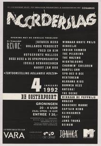 Beschrijving: Affiche Noorderslag 1992 Ontwerp: Benne Holwerda Gelegenheid: Noorderslag Festival Datum: 4 januari 1992 Uit: collectie Poparchief Groningen, archiefnummer: 2720-0860