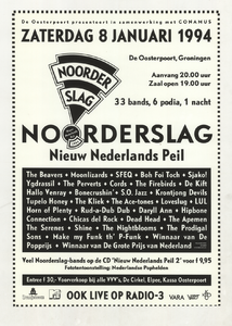 Beschrijving: Affiche Noorderslag 1994 Ontwerp: Elzo Smid Gelegenheid: Noorderslag Festival Datum: 8 januari 1994 Uit: collectie Poparchief Groningen, archiefnummer: 2410-22298