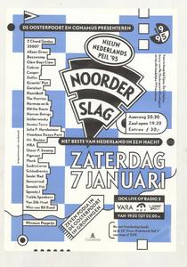 Beschrijving: Affiche Noorderslag 1995 Ontwerp: Elzo Smid Gelegenheid: Noorderslag Festival Datum: 7 januari 1995 Uit: collectie Poparchief Groningen, archiefnummer: 2410-22293