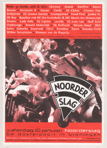 Beschrijving: Affiche Noorderslag 1998 Ontwerp: Elzo Smid Gelegenheid: Noorderslag Festival Datum: 10 januari 1998 Uit: collectie Poparchief Groningen, archiefnummer: 2720-0752