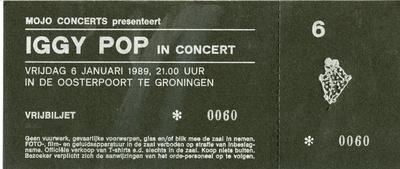 Concertkaart : Mojo Concerts presenteert Iggy Pop in De Oosterpoort, vrijkaart