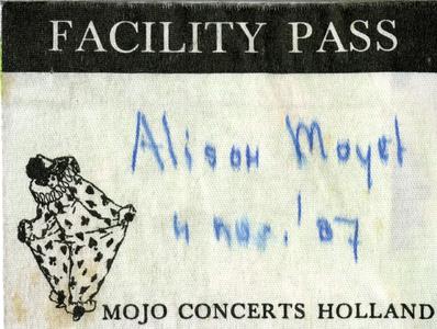 Backstagepas : facility pass voor concert Alison Moyet in de Oosterpoort, organisatie Mojo Concerts Holland