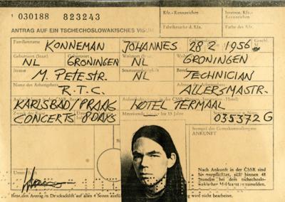 Hans Konneman : visum voor optredens met RTC in Tsjecho-Slowakije