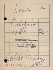 Popburo : bon voor voldoen contributie door Leader