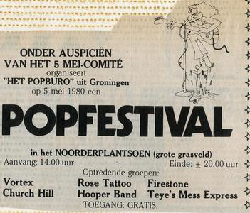 Popburo : advertentie aankondiging 5 mei popfestival