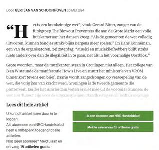 How's Live : stukje van krantenartikel uitNRC Handelsblad