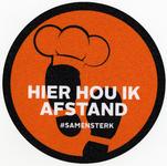 Vloersticker afkomstig van banketbakkerij Mens en Westerbos met de boodschap afstand te houden