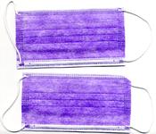 Twee paarse mondkapjes die zijn uitgedeeld op Paarse Maandag