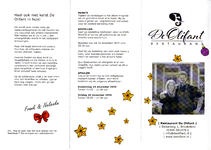 Kerstmenukaart voor afhaal- of thuisbezorgmenu van restaurant De Olifant te Breukelen