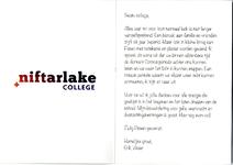 Paaskaart van de rector van het Niftarlake college voor medewerker