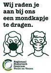 Aanplakbiljet van het Regionaal Historisch Centrum Vecht en Venen over mondkapjes