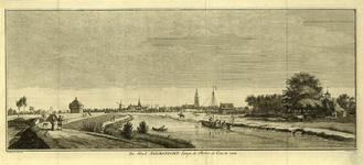 206011 Gezicht op de rivier de Eem met links een aarden schans met links een stenen wachthuis bij Keulhorst, rechts de ...