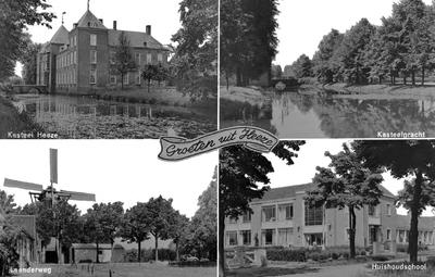 Collage van vier foto's waarop: 1. Kasteel met gracht; 2. Kasteelgracht; 3. Molen aan de Leenderweg; 4. Huishoudschool